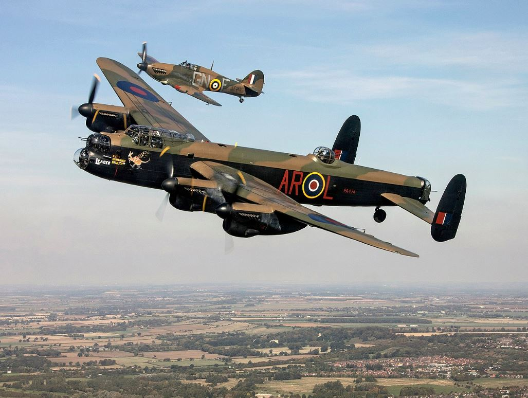 Avro Lancaster with Hurricane.jpg